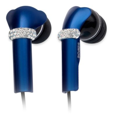 DEOS In-Ear Aluminum Headphones w/Swarovski Elements & Microphone in Dark Blue