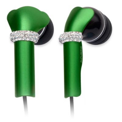 DEOS In-Ear Aluminum Headphones w/Swarovski Elements & Microphone in Green