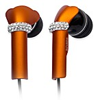 DEOS In-Ear Aluminum Headphones w/Swarovski Elements & Microphone in Orange
