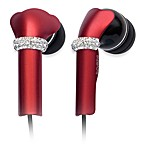 DEOS In-Ear Aluminum Headphones w/Swarovski Elements & Microphone in Red
