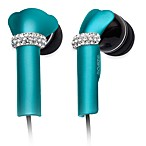 DEOS In-Ear Aluminum Headphones w/Swarovski Elements & Microphone in Turquoise