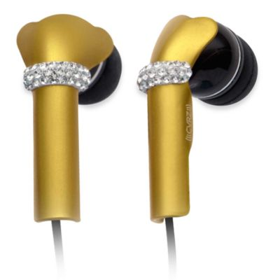 DEOS In-Ear Aluminum Headphones w/Swarovski Elements & Microphone in Yellow