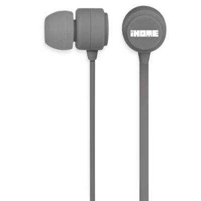 iHome® Rubberized Noise Isolating Earphones w/Pouch in Grey