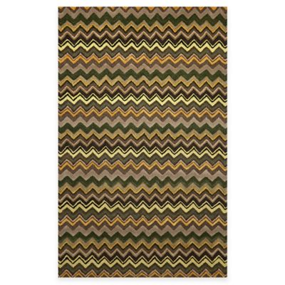 Zigzag Stripe Rug in Green