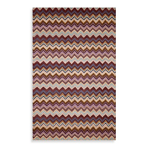 Zigzag 5-Foot x 8-Foot Rug in Purple Stripe