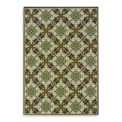 Oriental Weavers Caspian 6-Foot 7-Inch x 9-Foot 6-Inch Indoor and Outdoor Rug in Green/Brown
