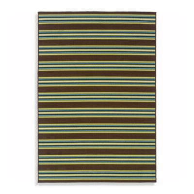 Oriental Weavers Caspian 7-Foot 10-Inch x 10-Foot 10-Inch Indoor/Outdoor Rug in Brown Stripe