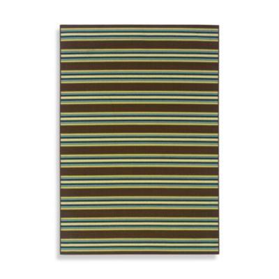 Oriental Weavers Caspian 2-Foot 3-Inch x 7-Foot 6-Inch Indoor/Outdoor Rug in Brown Stripe