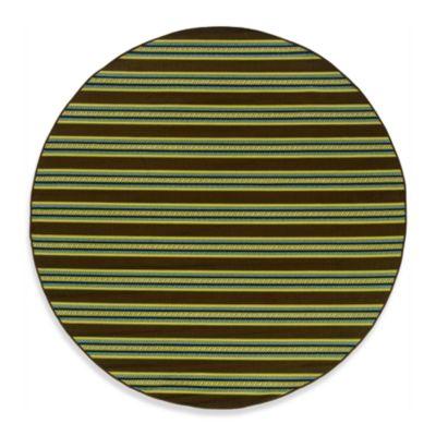 Oriental Weavers Caspian 7-Foot 10-Inch Round Indoor/Outdoor Rug in Brown Stripe