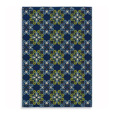 Oriental Weavers Caspian 7-Foot 10-Inch Round Indoor and Outdoor Rug in Navy
