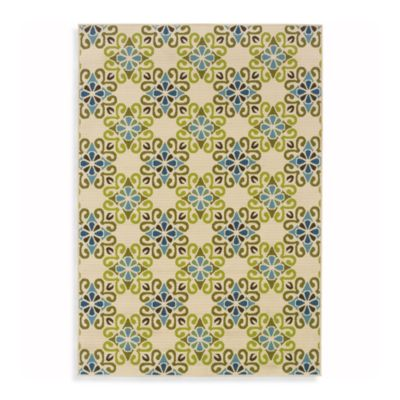 Sphinx Caspian Indoor/Outdoor Rug in Ivory/Green