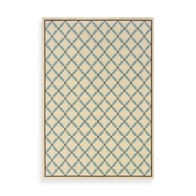 Oriental Weavers Caspian Ivory/Blue Lattice 2-Foot 3-Inch x 7-Foot 6-Inch Indoor/Outdoor Rug