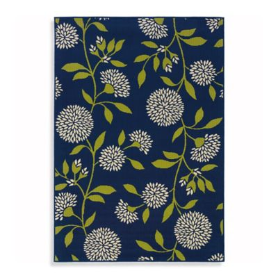 Oriental Weavers Caspian Mums 8-Foot 6-Inch x 13-Inch Indoor/Outdoor Rug in Navy