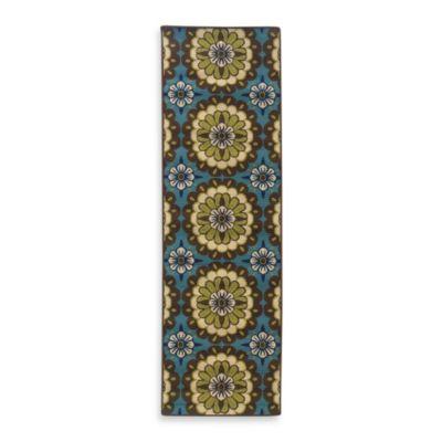 Oriental Weavers Caspian Brown/Blue Medallion 2-Foot 3-Inch x 7-Foot 6-Inch Indoor/Outdoor Rug