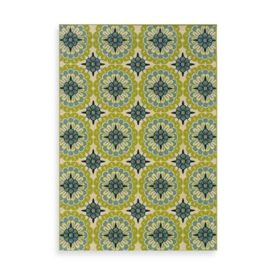 Oriental Weavers Caspian Green/Blue Medallion 3-Foot 7-Inch x 5-Foot 6-Inch Indoor/Outdoor Rug
