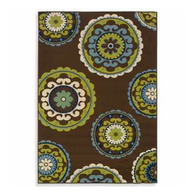 Oriental Weavers Caspian 1-Foot 9-Inch x 3-Foot 9-Inch Indoor/Outdoor Rug in Brown