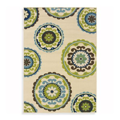 Oriental Weavers Caspian 2-Foot 3-Inch x 7-Foot 6-Inch Indoor/Outdoor Rug in Ivory