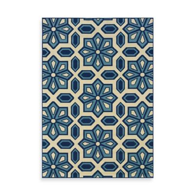 Oriental Weavers Caspian Crystal 2-Foot 3-Inch x 7-Foot 6-Inch Indoor/Outdoor Rug in Blue