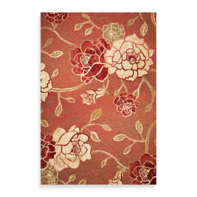 KAS Horizon Brick Red Flora 3-Foot 4-Inch x 4-Foot 11-Inch Indoor/Outdoor Rug