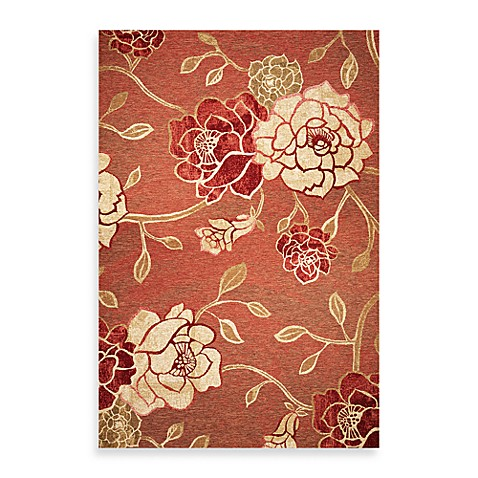 KAS® Horizon Brick Red Flora 6-Foot 9-Inch Round Indoor/Outdoor Rug