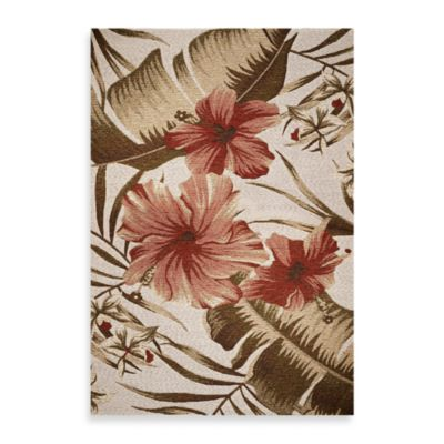 KAS Horizon Ivory Hibiscus 3-Foot 4-Inch x 4-Foot 11-Inch Indoor/Outdoor Rug