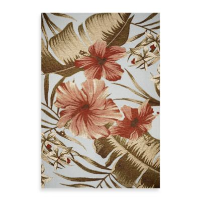 KAS Horizon Light Blue Hibiscus 3-Foot 4-Inch x 4-Foot 11-Inch Indoor/Outdoor Rug