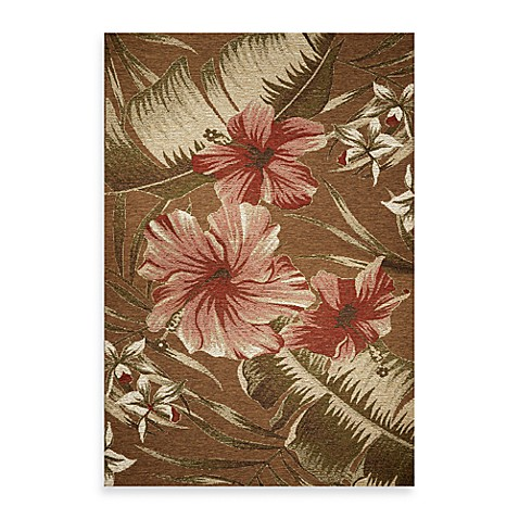 KAS® Horizon Mocha Hibiscus 6-Foot 9-Inch Round Indoor/Outdoor Rug