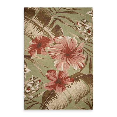 KAS Horizon Sage Hibiscus 5-Foot 3-Inch x 7-Foot 7-Inch Indoor/Outdoor Rug