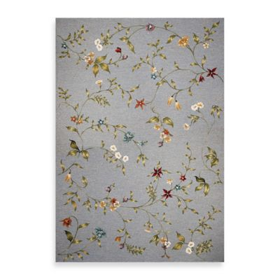 KAS Horizon Blue Floral 5-Foot 3-Inch x 7-Foot 7-Inch Indoor/Outdoor Rug