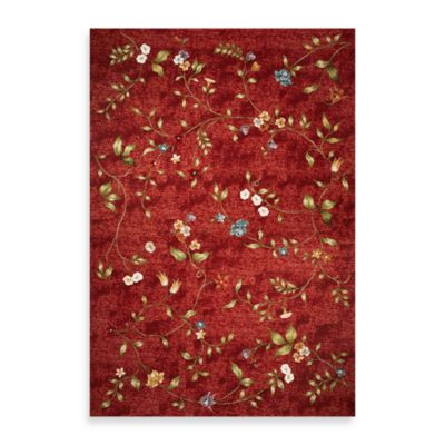 KAS Horizon Red Floral 3-Foot 4-Inch x 4-Foot 11-Inch Indoor/Outdoor Rug