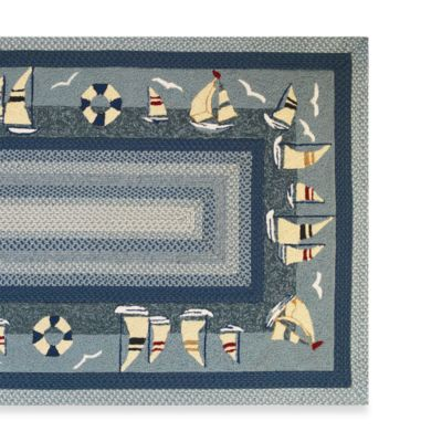 KAS Fairfax Sailboats 7-Foot 6-Inch x 9-Foot 6-Inch Indoor/Outdoor Rug