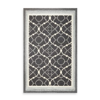 KAS® Fairfax Charcoal Filigree 7-Foot 6-Inch Round Indoor/Outdoor Rug