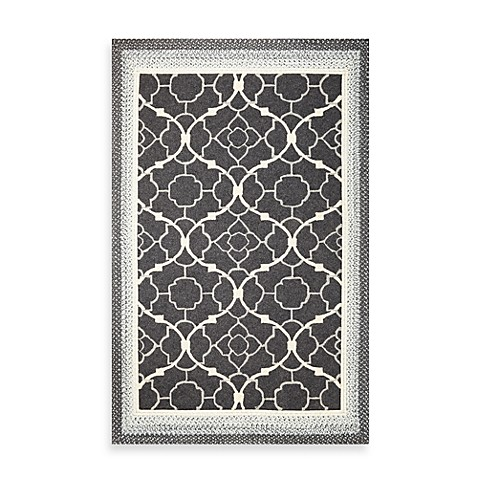 KAS® Fairfax Charcoal Filigree 7-Foot 6-Inch x 9-Foot 6-Inch Indoor/Outdoor Rug