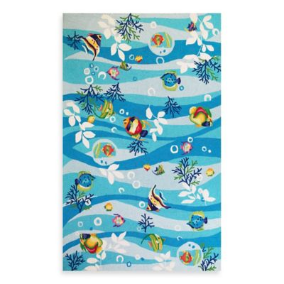 KAS® Sonesta 1-Foot 8-Inch x 2-Foot 6-Inch Rug in Blue Tropical Fish