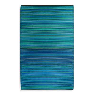 Fab Habitat Cancun Turquoise & Moss Green 3-Foot x 5-Foot Indoor/Outdoor Rug