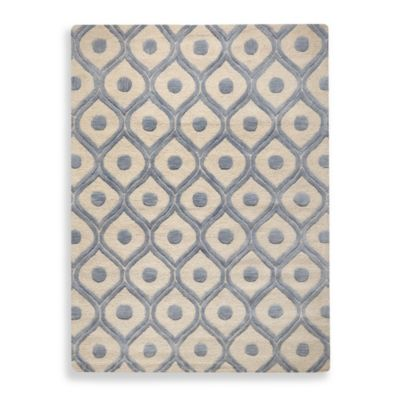 Rahni Brocade Rug in Ivory/Blue