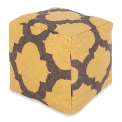 Surya Montijo POUF Ottoman in Golden Yellow/Pewter