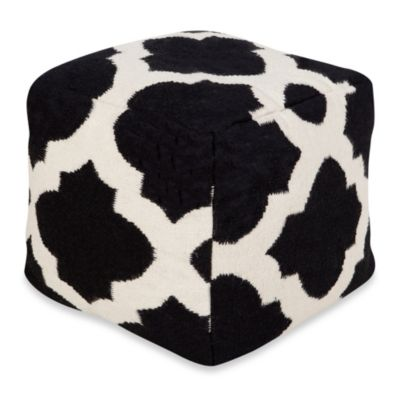 Montijo POUF Ottoman in Coal Black/Winter White