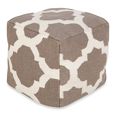 buy surya montijo pouf ottoman in taupe winter white from bed bath beyond. Black Bedroom Furniture Sets. Home Design Ideas
