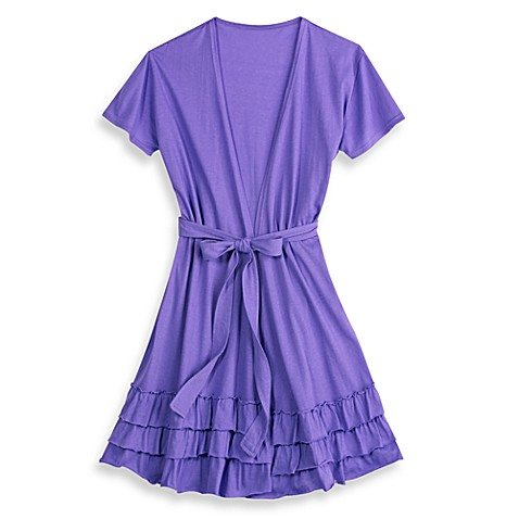 Jessica Simpson Short Sleeve Small/Medium Triple Ruffle Robe in Purple