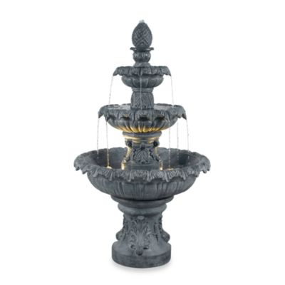 Kenroy Home Costa Brava Outdoor Fountain in Dark Resin