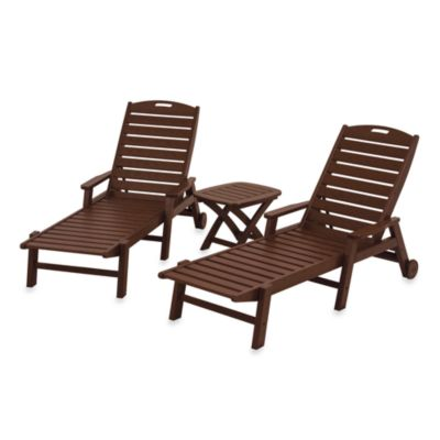 POLYWOOD® Nautical 3-Piece Chaise Set in Mahogany