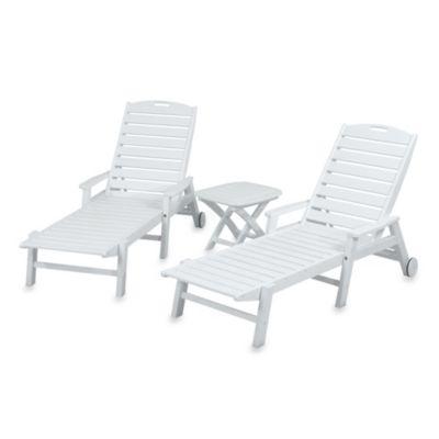 POLYWOOD® Nautical 3-Piece Chaise Set in White