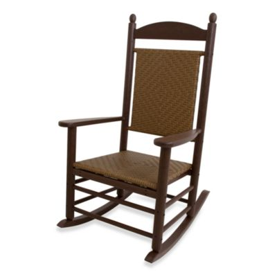 POLYWOOD® Jefferson Woven Rocker in White/Brown