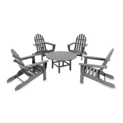 POLYWOOD® Adirondack 5-Piece Conversation Set in Grey