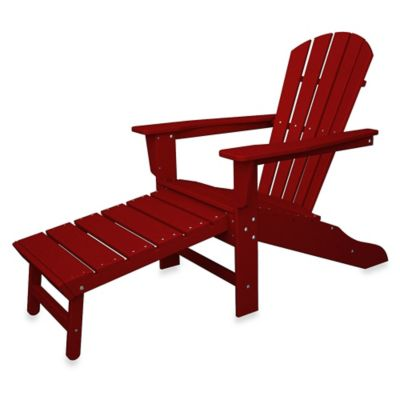 POLYWOOD® South Beach Ultimate Adirondack Chair with Ottoman in Blue