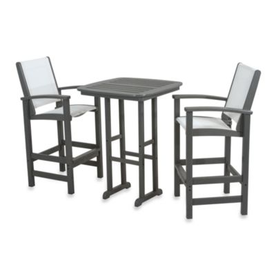 POLYWOOD® Coastal 3-Piece Outdoor Bar Set in Sand/White