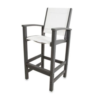 POLYWOOD® Coastal Bar Chair in Slate Grey/White