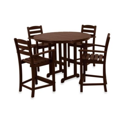 POLYWOOD® La Casa 5-Piece Outdoor Counter Height Table Set in Mahogany