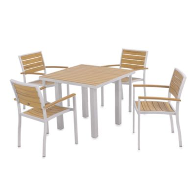 POLYWOOD® Euro 5-Piece Textured Outdoor Dining Set in Silver/Plastique